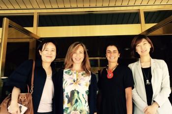 Las profesoras Yuri Lee Ho y Karen Moon ka Leung de la Seoul National University con las profesoras Paloma Díaz Soloaga y Pilar Miguel Saldaña de CGModa, CUV.