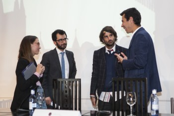 Marina Casal, de Andrés Gallardo; Christian de Angelis, de Modaes.es; Antonio Riera, de El Ganso; y Juan Manzanedo, de Logisfashion. Foto: Carlos de la Osa.