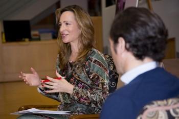 Paloma durante la entrevista a Borja Zamácola