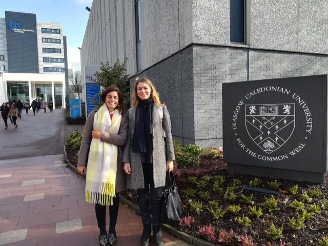 Teresa Pérez del Castillo y Pilar Miguel en el Campus de GCU